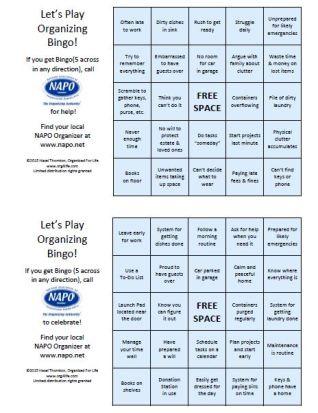 Organizing Bingo - NAPO Member Branded