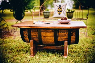 table made with shipping drums