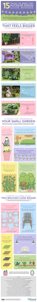 Infographic ways to make tiny spaces look bigger