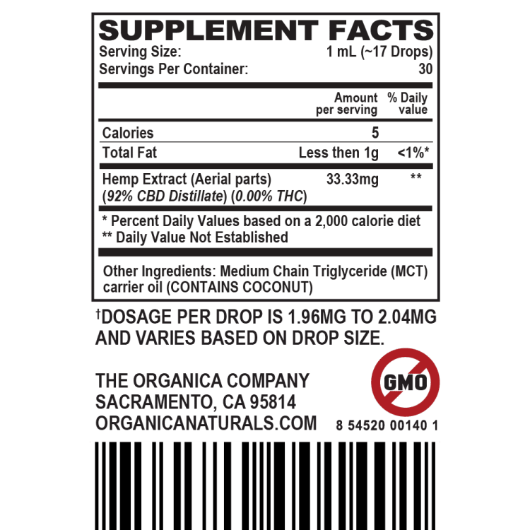 Broad Spectrum CBD Oil Tincture Supplement Facts Label