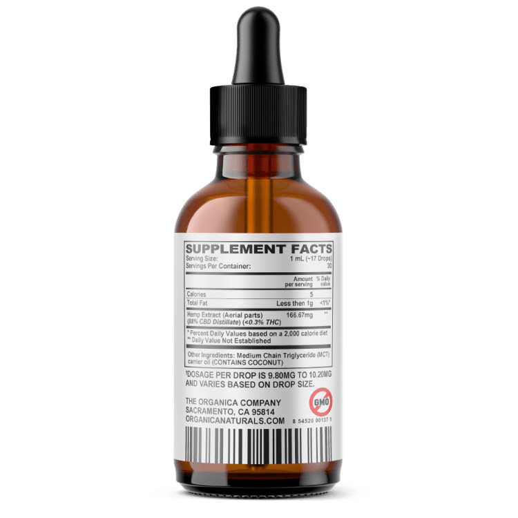 CBD Oil - Hyper Concentrated 5000mg Full Spectrum Formula Facts Label