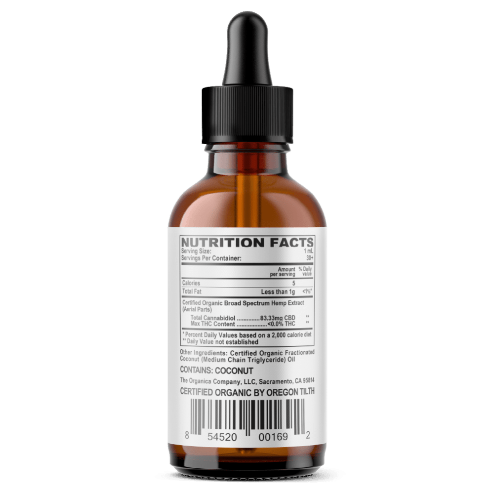 CBD Oil - Super Concentrated 2500mg Broad Spectrum Formula Facts Label - USDA Organic