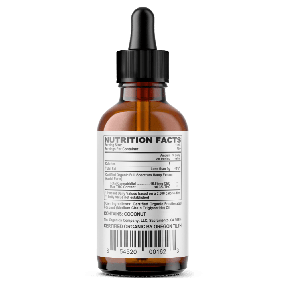 CBD Oil - Concentrated 500mg Full Spectrum Formula Facts Label - USDA Organic