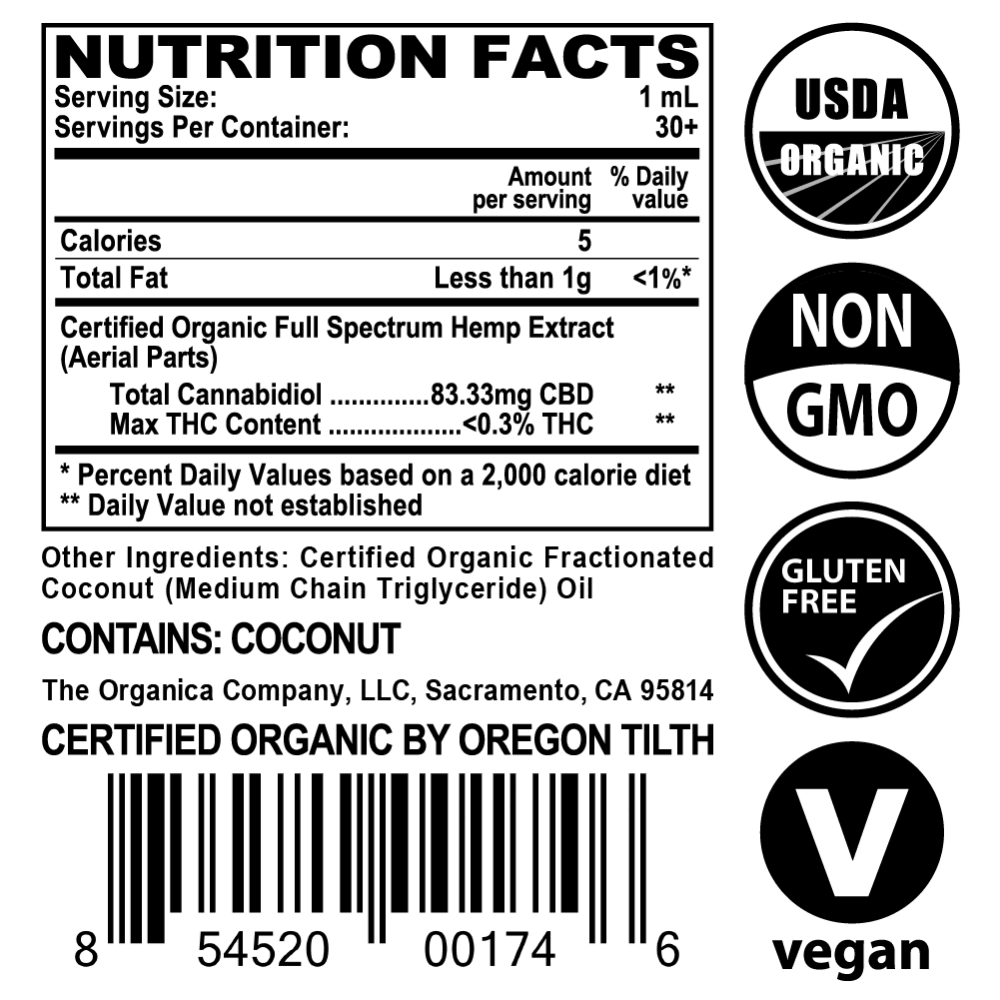 Vet CBD Oil - 2500mg Full Spectum For Large Pets, Dogs and Cats - USDA Organic - Supplement Facts