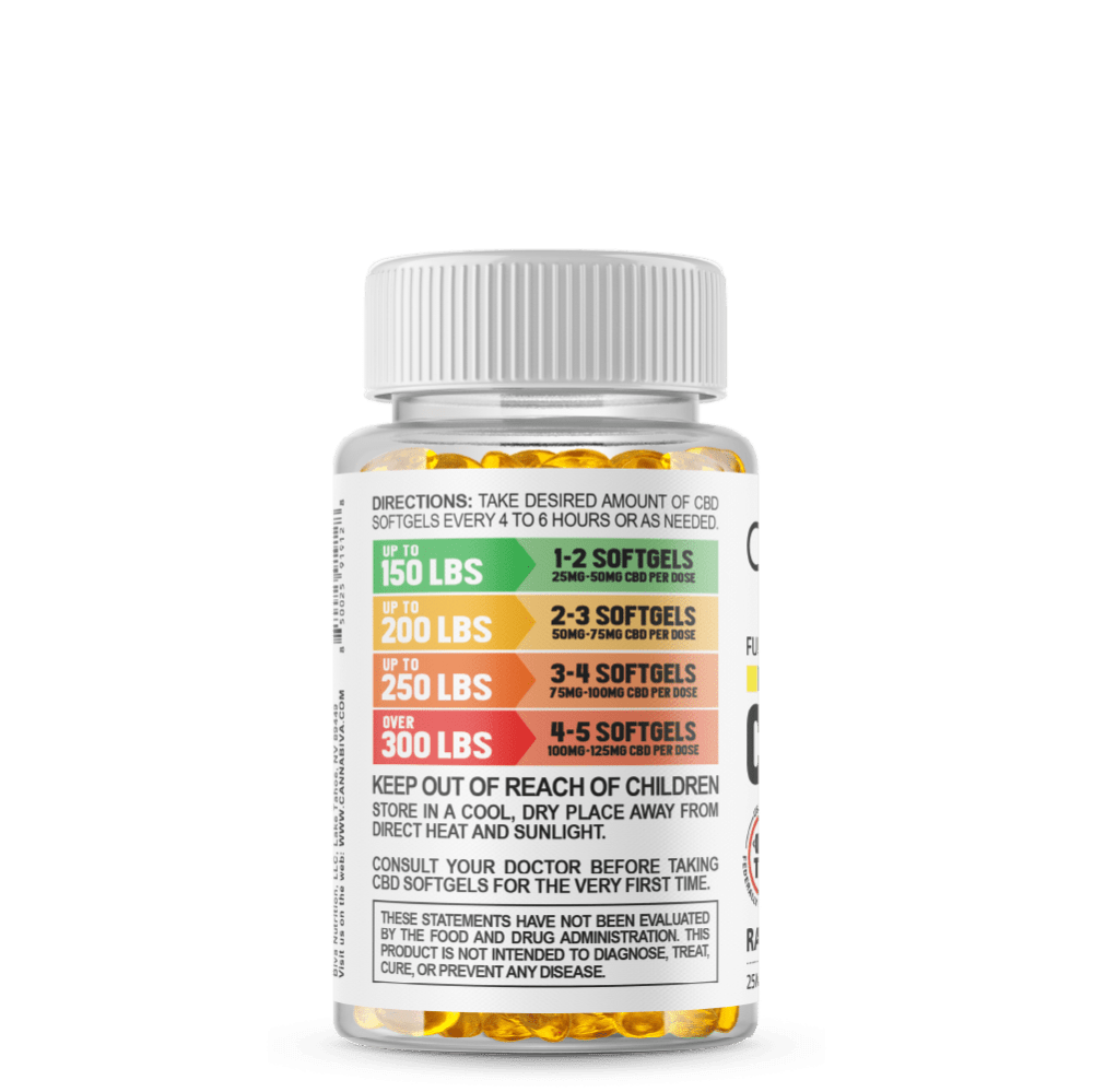 Full Spectrum CBD Softgels - Cannabiva 1500MG - 60 Capsules With 25mg Per Supplement - Usage Guidelines