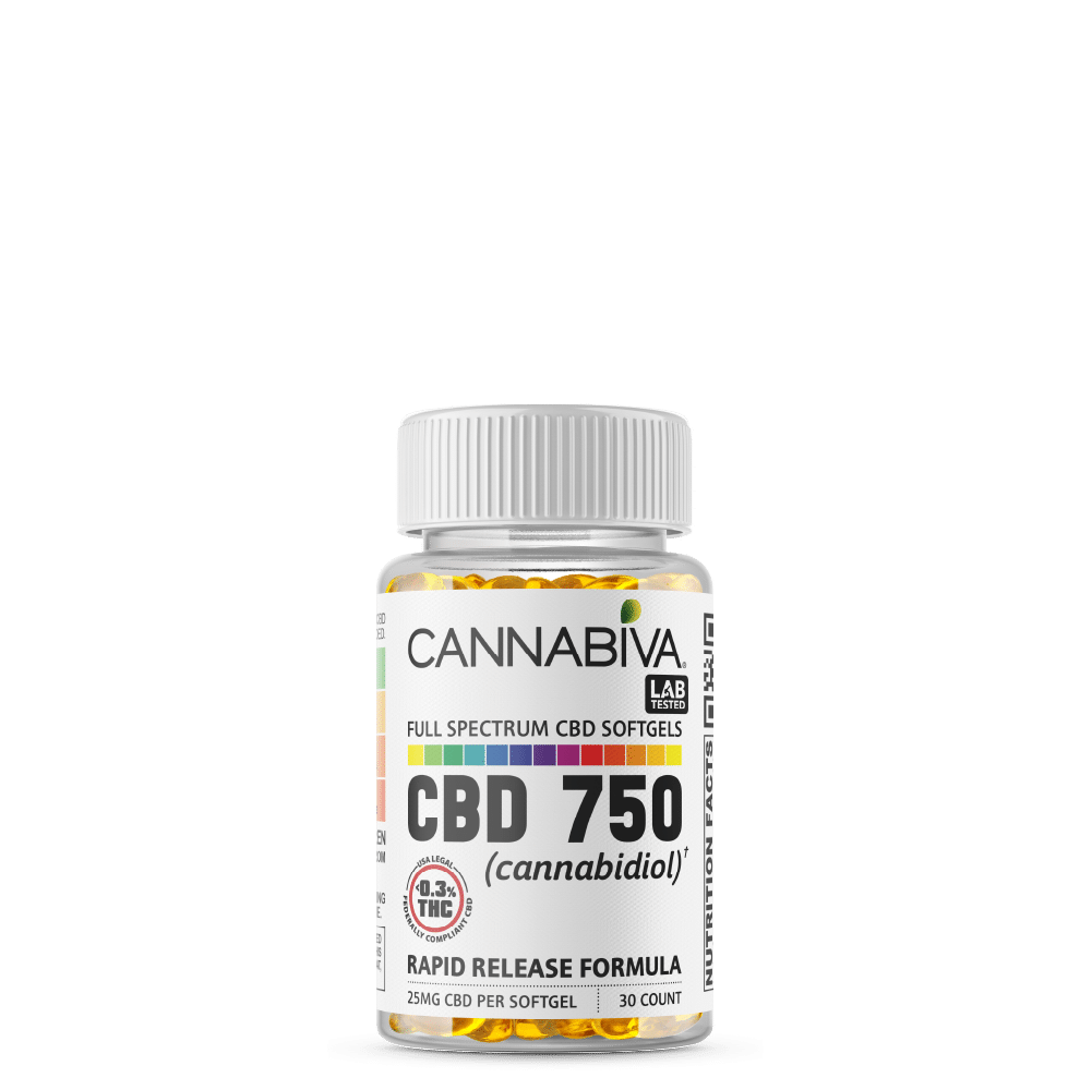 Full Spectrum CBD Softgels - Cannabiva 750MG - 30 Capsules With 25mg Per Supplement - Bottle