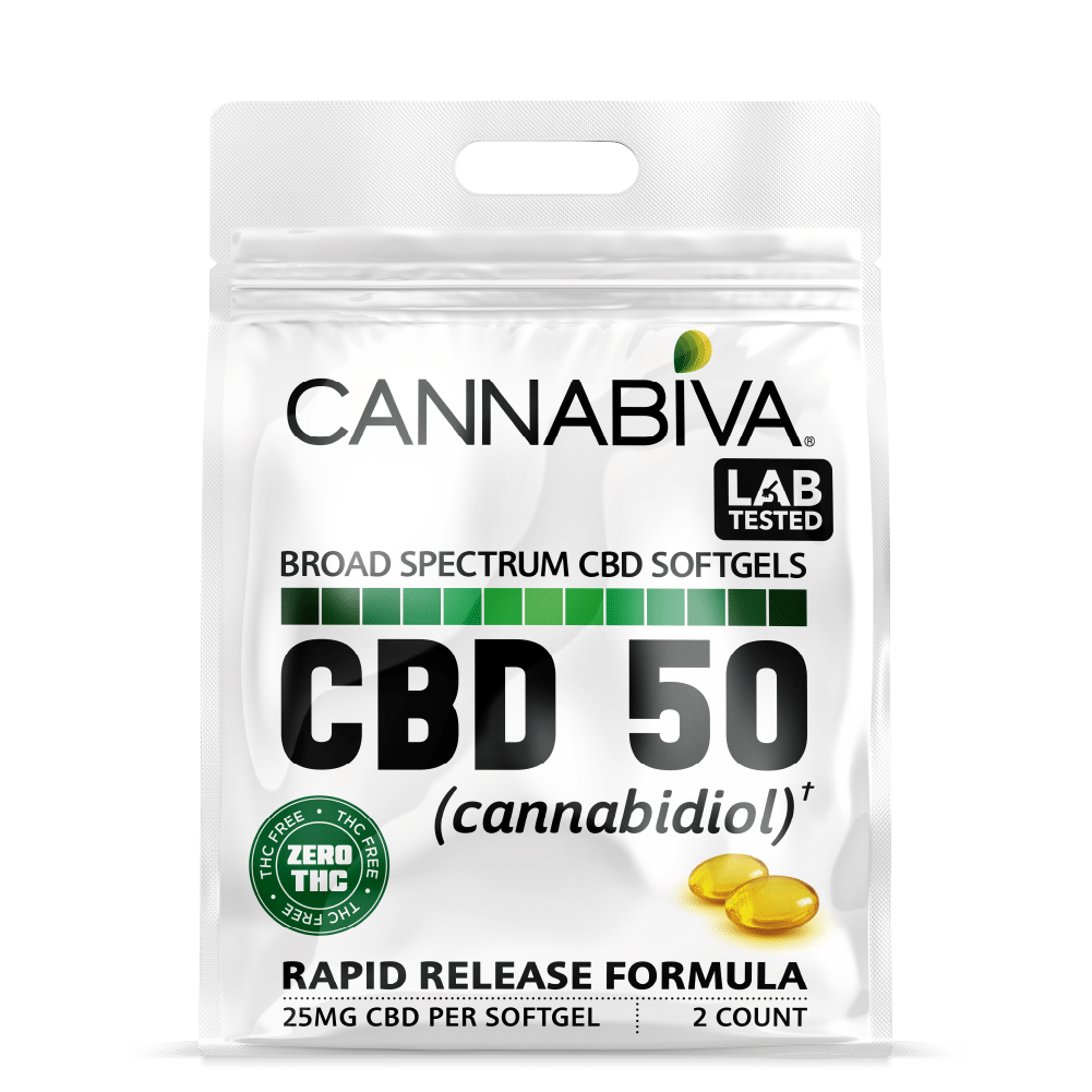 Broad Spectrum CBD-50 Softgels (0% THC) - Quick Pack - 25mg Per Capsule - Front