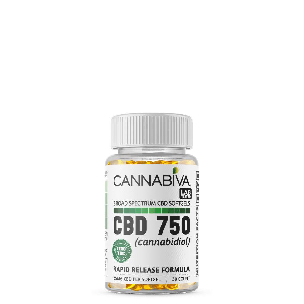 Broad Spectrum CBD Softgels (0% THC) - Cannabiva 750MG - 30 Capsules With 25mg Per Supplement - Bottle
