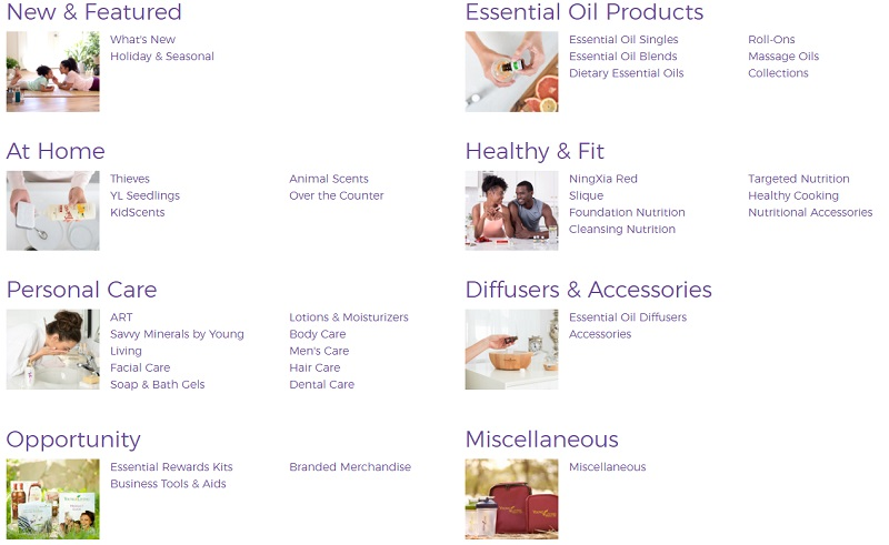 example of young living product categories