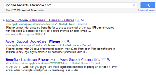 A Google search for the benefits of an iPhone return good results