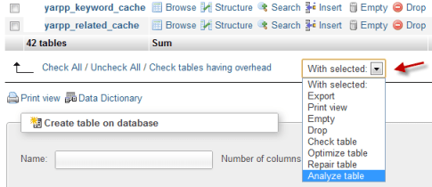 Using phpMyAdmin table options