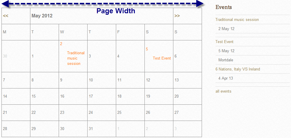 full page calendar