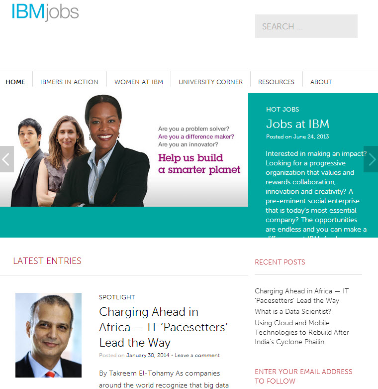 The WordPress website of the IBM Jobs Blog