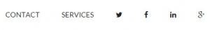 WordPress genesis menu showing social media icons