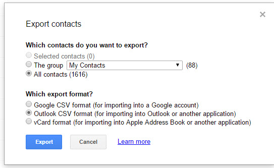 Select the export to Outlook option when exporting Google Gmail contacts