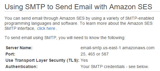 The Amazon SES dashboard showing SMTP details