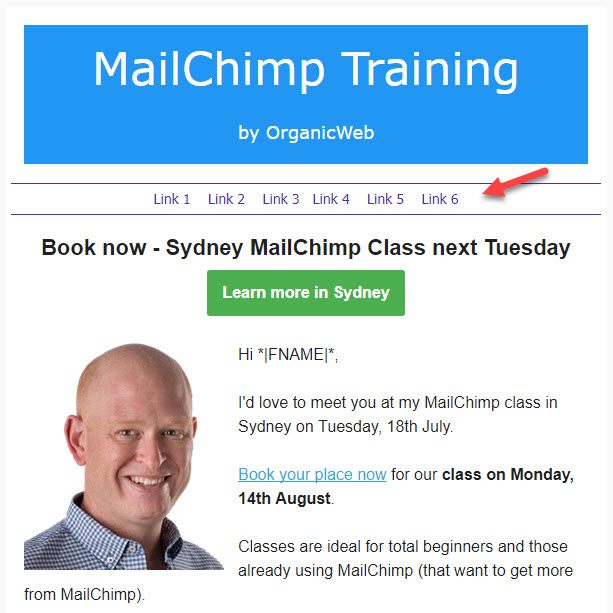 Learn how to add a menu bar to your MailChimp campaigns.