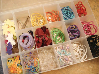 organise girls hair accessories with plastic craft box
