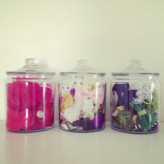 organise girls' hair accessories with glass jars