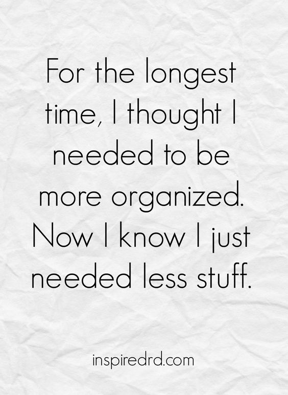 less things means your home is more organised quote