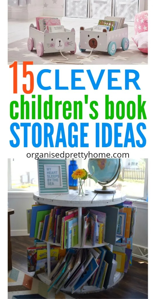 Check out these 15 awesome storage ideas to store children's books in play room or bedroom. Get kids reading more. DIY spice racks, book bin, bookshelves, without shelves. - Organised Pretty Home #storebooks #kidsbookstorage #bookshelves #reading #playroom #kidsbedroom #kidsbookstorageideas #ikea #kidsroom #bookstorage