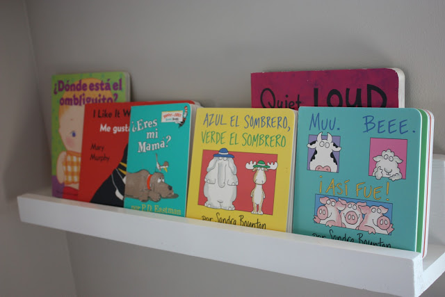 store children's books on wide diy picture ledges