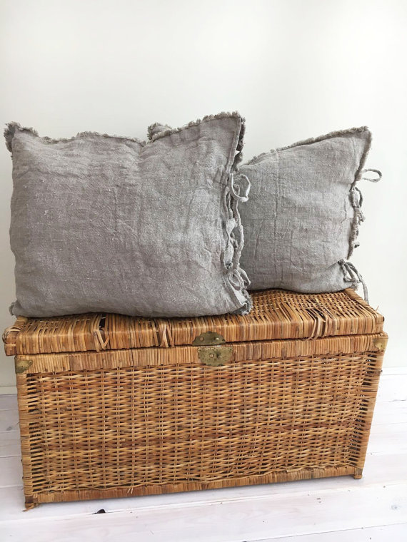 decorating on a budget linen cushions on etsy