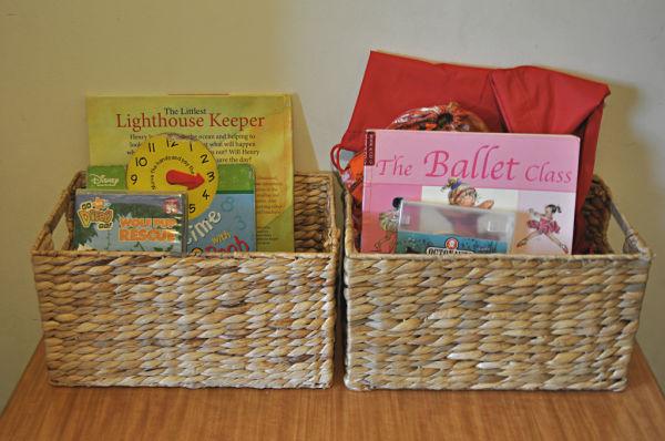 shared bedroom - book baskets