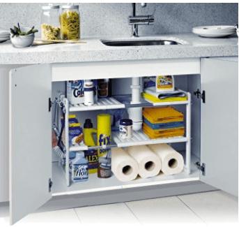 Organizar la cocina: estantería modular bajo mesada
