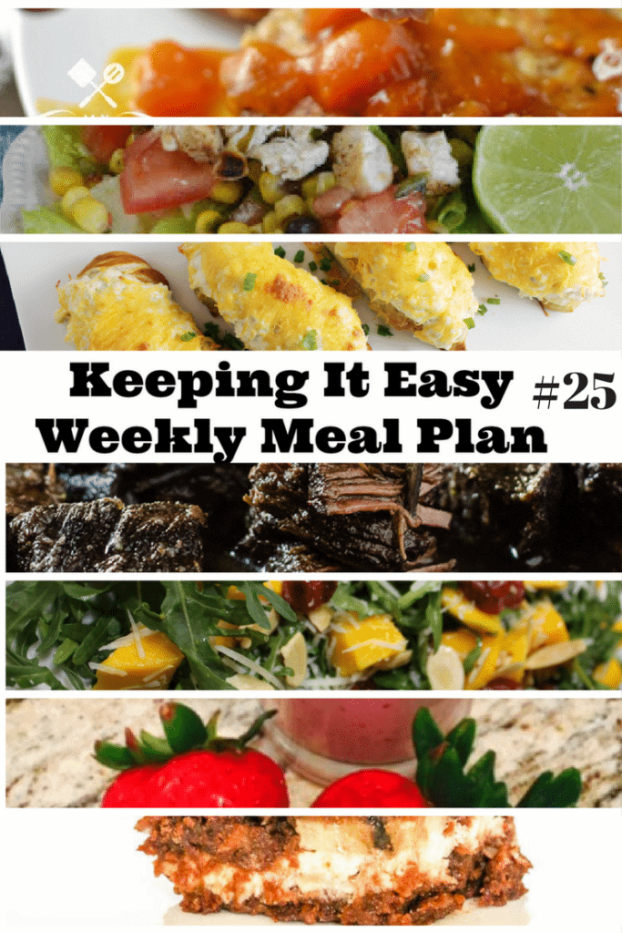 Easy Weekly Meal Plan #25 from My Fearless Kitchen. This week's meal plan includes Strawberry Banana Smoothies, Apricot-Glazed Pork Chops, Burrito Bowls, Crab Pretzels, Red Wine Mushroom Braised Beef, Mango Arugula Salad, and Banana Coconut Chocolate Chip Brownies.