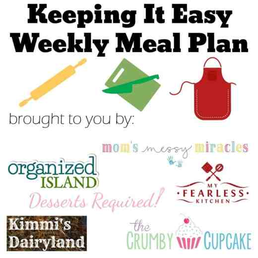 Easy Weekly Meal Plan #7 from My Fearless Kitchen. This week's meal plan includes Slow Cooked Short Ribs, Mushroom Spinach Risotto, BBQ Chicken Chili, Cheesy Chicken & Veggie Tortellini Skillet, Individual Chicken Pot Pies, Peanut Butter Krispie Balls, and Apple Cinnamon Rolls.