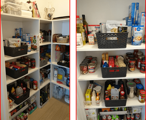 Pantry organized with baskets and bins