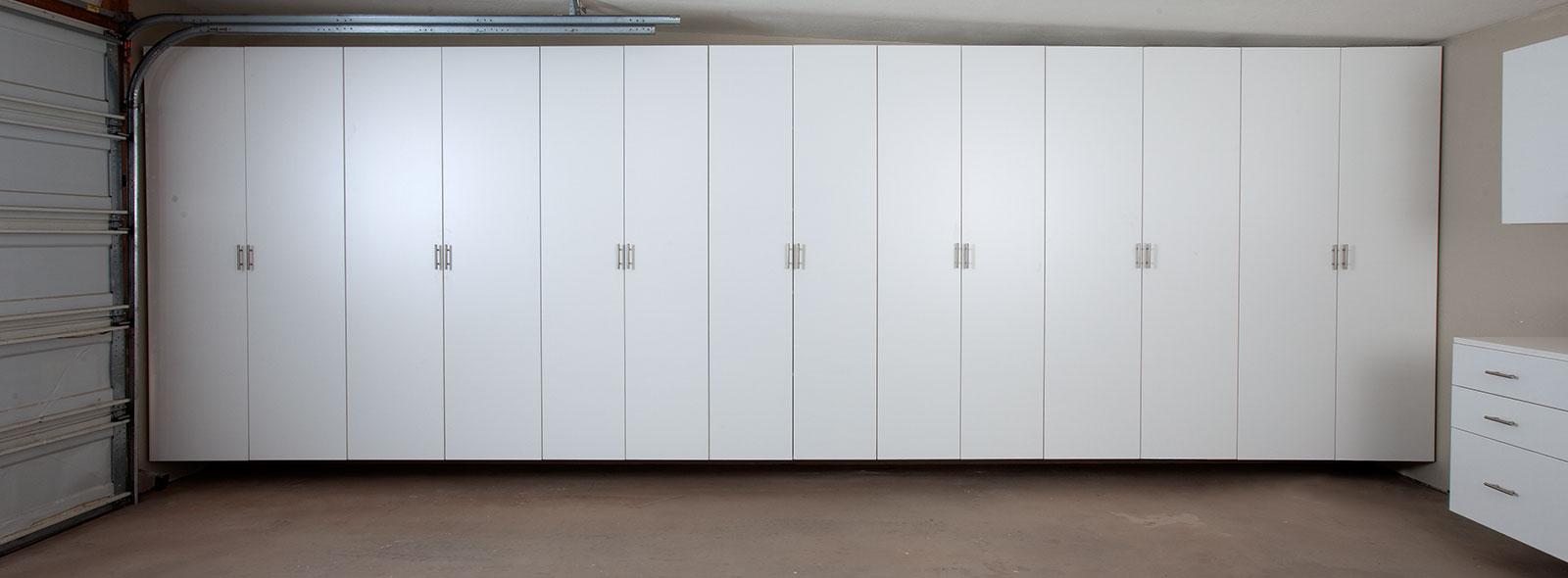 Matte Garage Cabinets Silver Finish White Finish