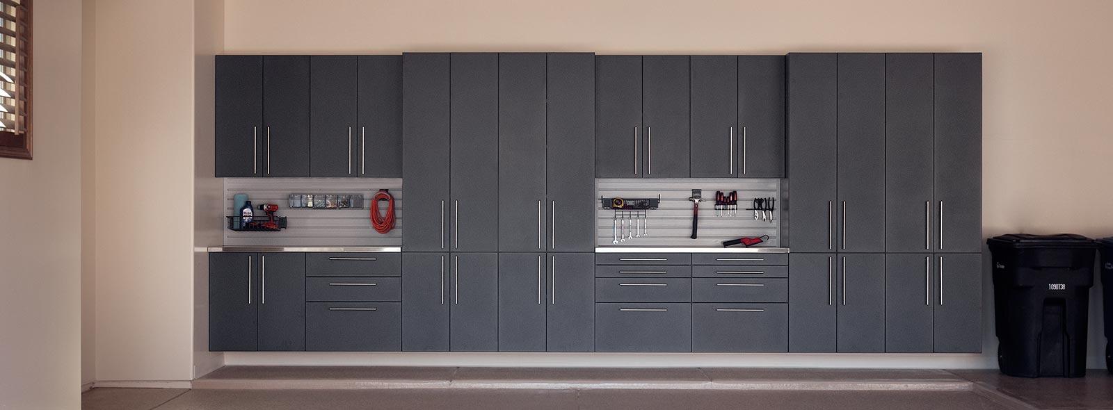 Garage Storage Cabinets Matte Metallic Wood