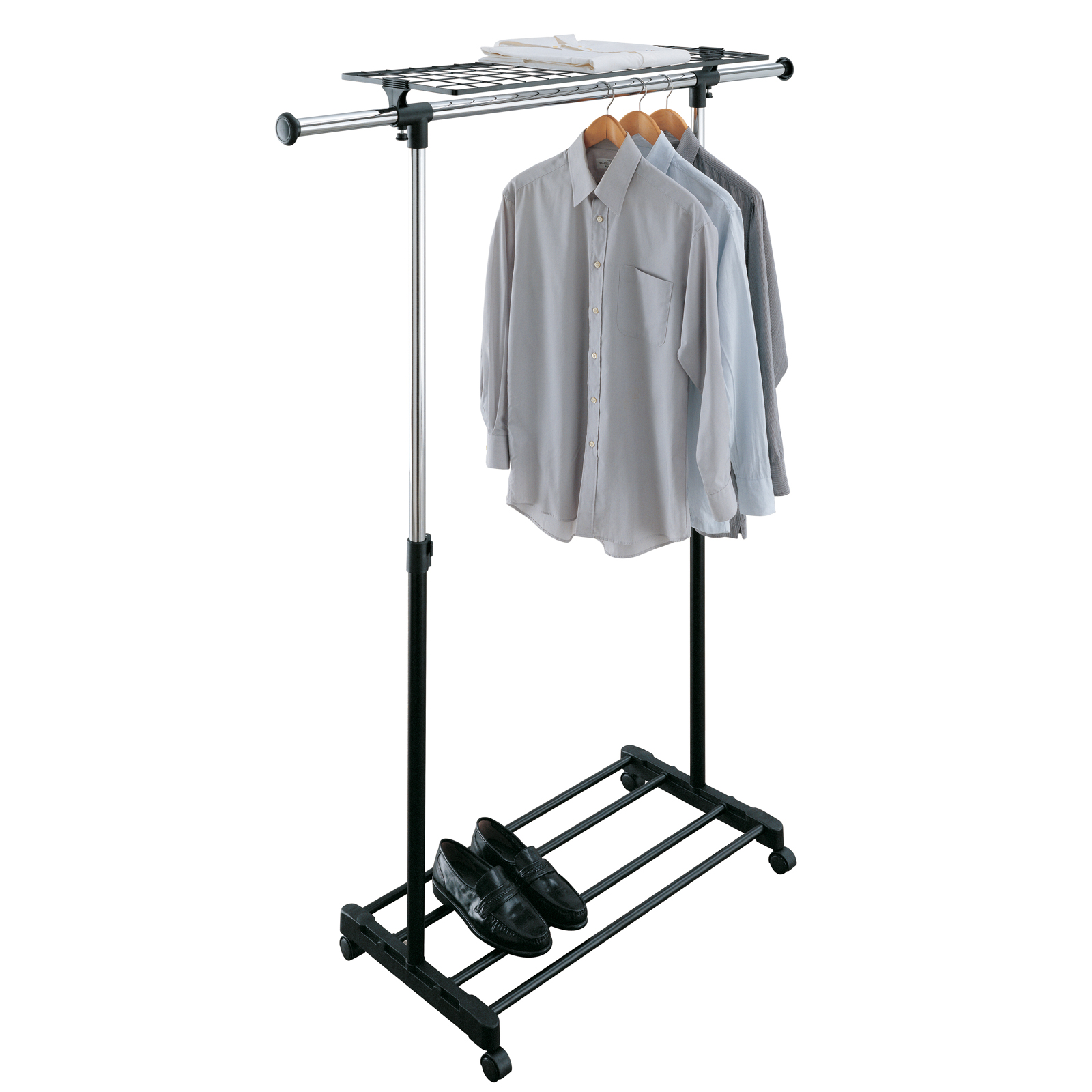 adjustable rolling clothing rack in