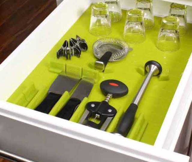 Silicone Drawer Organizer Set Lime Set Of 16 In Kitchen Drawer Organizers