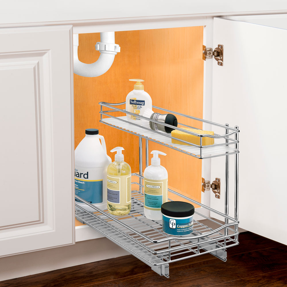 pull out under sink organizer chrome