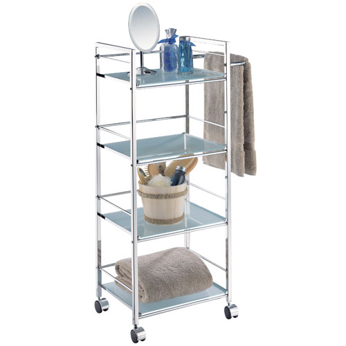 four-tier rolling bath shelf and towel bar in free standing bath