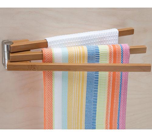Bamboo Swing Arm Kitchen Towel Rack Holders