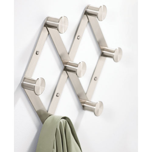 nickel wall mount expandable coat rack