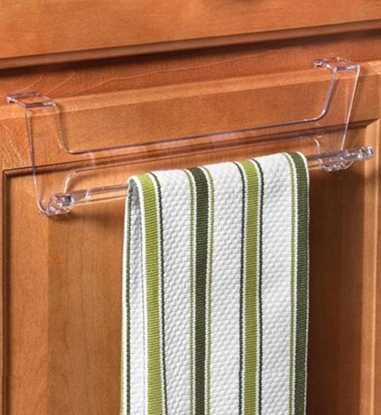 over cabinet door towel bar clear in