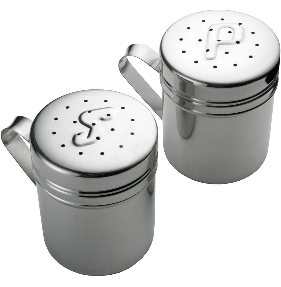 Stainless Steel Salt And Pepper Shakers In Spice Containers