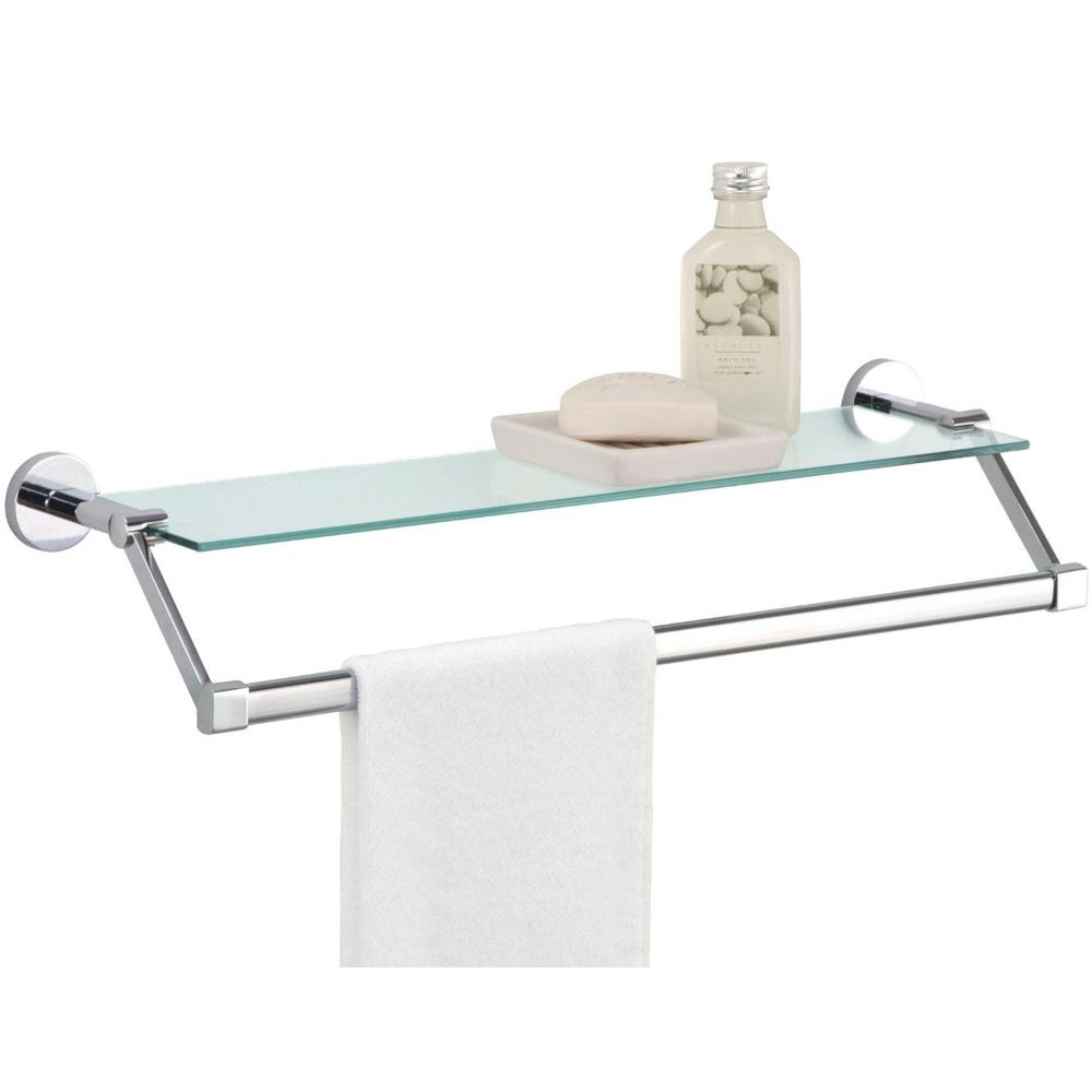 towel rack with shelf glass in