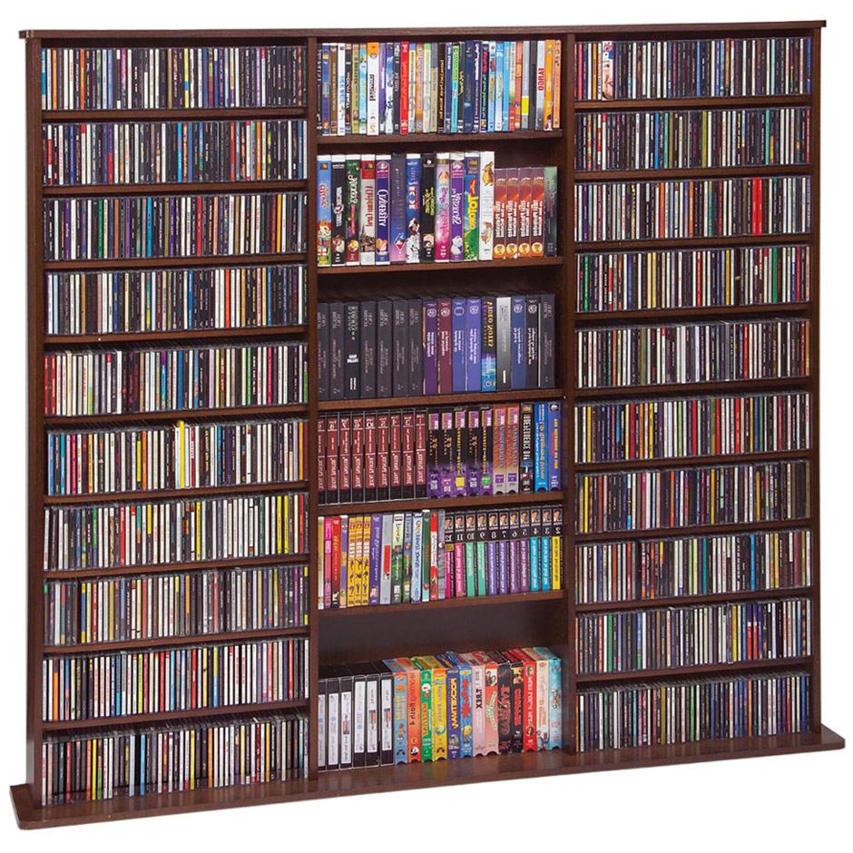 wooden cd rack in media storage towers