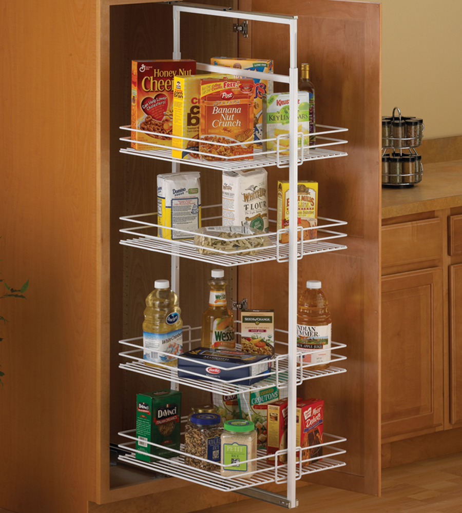 center mount pantry roll out system white