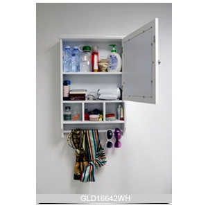 wall mounted wooden mirrored bathroom storage cabinet