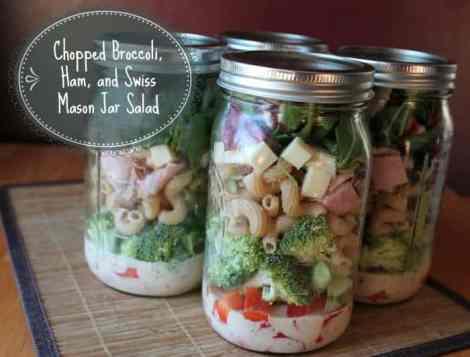 chopped broccoli ham and swiss masonjarsalad