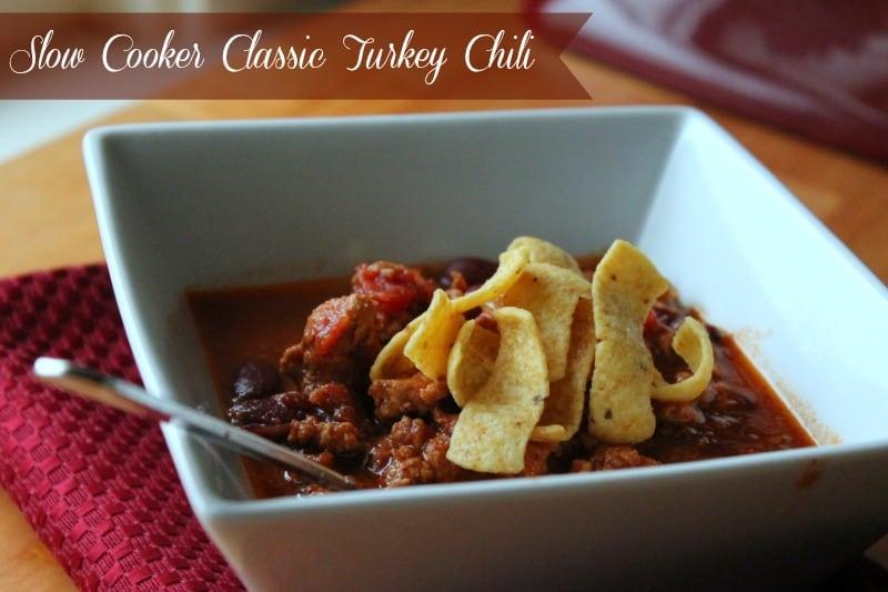 Slow Cooker Classic Turkey Chili #slowcooker #freezermeal #chili