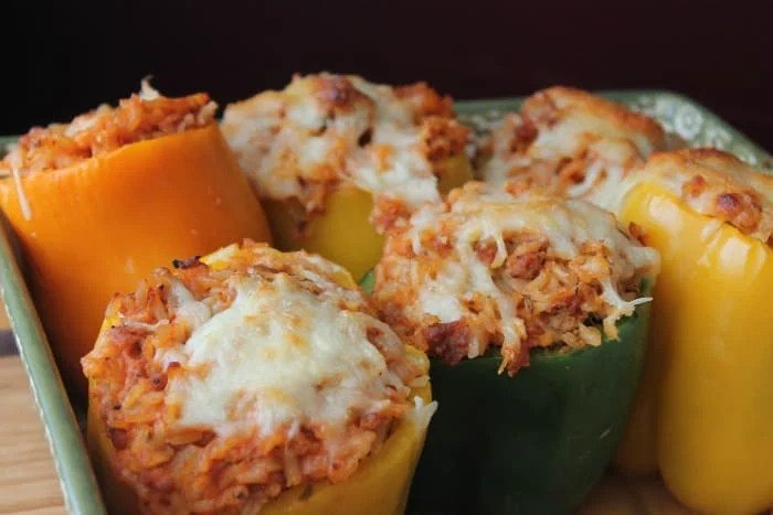 Sausage and Rice Stuffed Peppers Freezer Meal