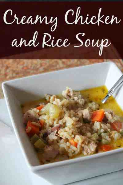 Healthy Creamy Chicken and Rice Soup
